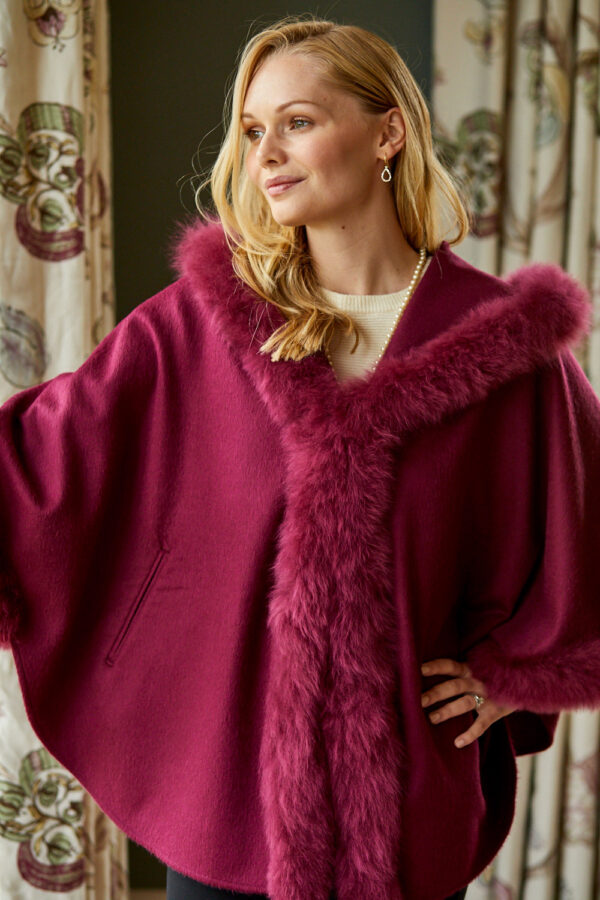 Fur Trimmed Cape with Hood